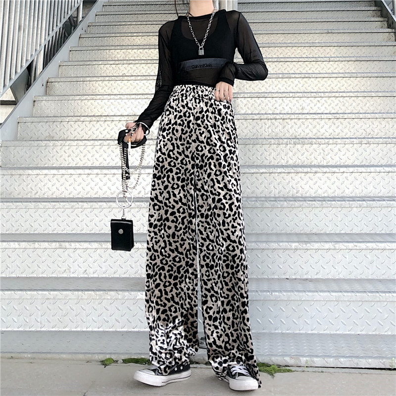 Focal20 Streetwear Leopard Women Pants Elastic High Waist Loose Female Trousers Bottoms Casual Spring Autumn Lady Pants Trousers