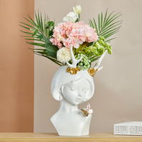 Nordic Creative Luxurious Cute Deer Mouse Rabbit Girl Arts Vase Bust FlowerPot Resin Crafts Home Decorative Art Portrait R3888