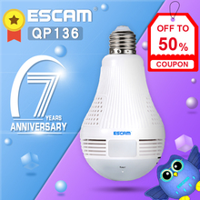 ESCAM QP136 360 Degree Panoramic Bulb Camera HD WiFi IP Camera with Motion Detection, Two-way Audio, 3pcs White Lights