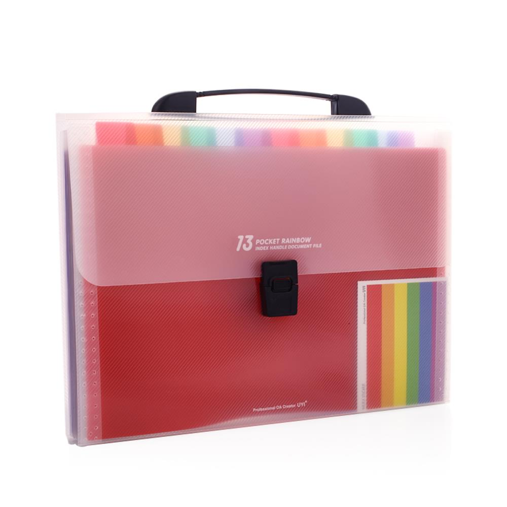 A4 Document Bag Multifunctional Universal 13 Grids Rainbow Color File Holder Manager A4 Document Folder Office Supplies