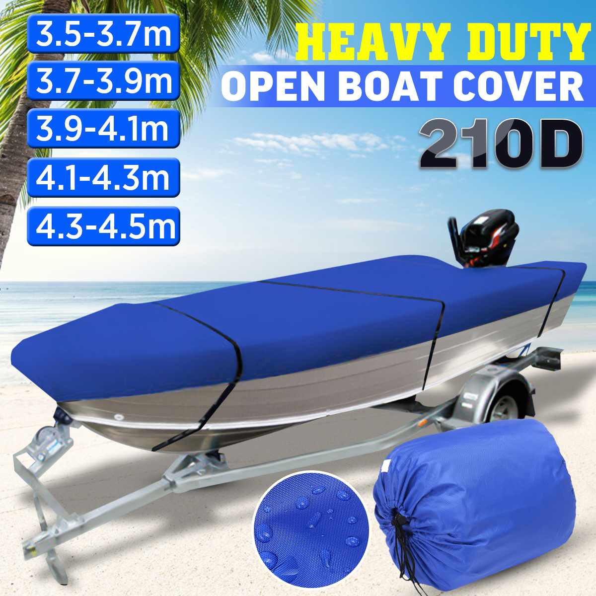3.5-4.5m Trailerable Heavy Duty Open Boat Cover Fishing Ski Runabout Waterproof 210D Sunproof Anti UV V-Hull Boat Cover