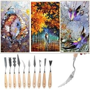 Image 5 - 10pcs/set Stainless Steel Painting Palette Knife Oil Paint Spatula Scraper Tools J20 20 Dropship