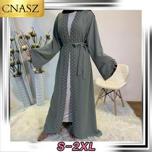 Islamic Fashion Women Pearls Kimono Robe Modest Dress Long Elegant Cardigans Muslim Clothing Front Open Abaya