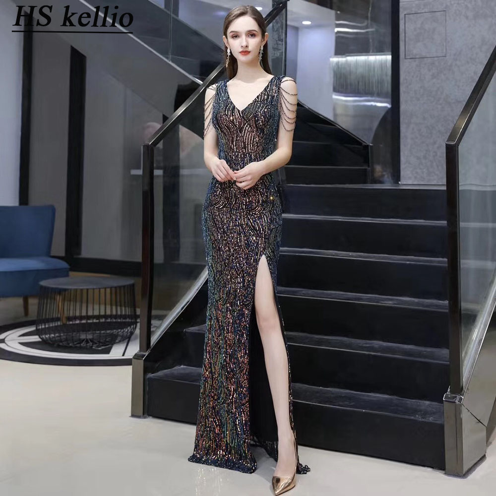 Celebrity-Dresses Double Vneck Split Sexy Mermaid Women Formal Party Gown Sequined