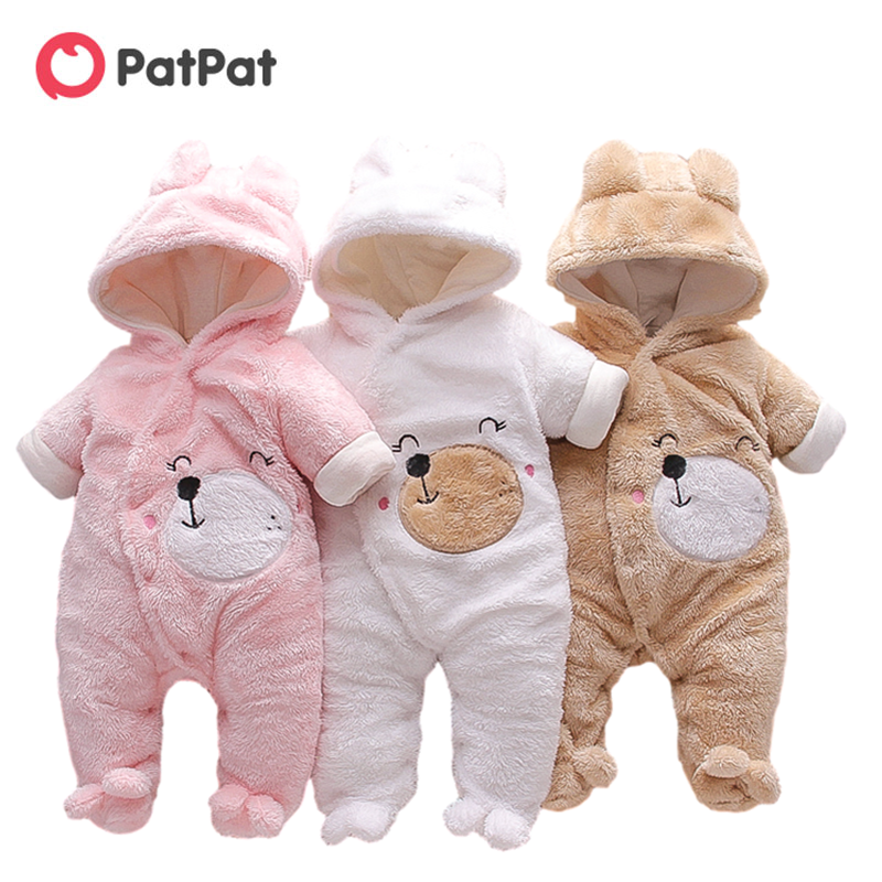 PatPat New Arrival Winter Baby Bear Warm Fleece Hooded Jumpsuit Baby Rompers Baby Warm Clothing