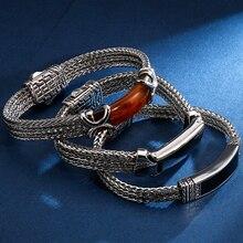 22 Cm Lange Vriendschap Armbanden Vintage Hars Id Armband Voor Mannen Kwaliteit 316L Rvs 10 Mm Wide Chain Sieraden drop Schip
