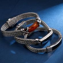 22CM długie bransoletki przyjaźni Vintage żywica ID bransoletka dla mężczyzn jakość stal nierdzewna 316L 10MM szeroki łańcuch biżuteria Drop Ship