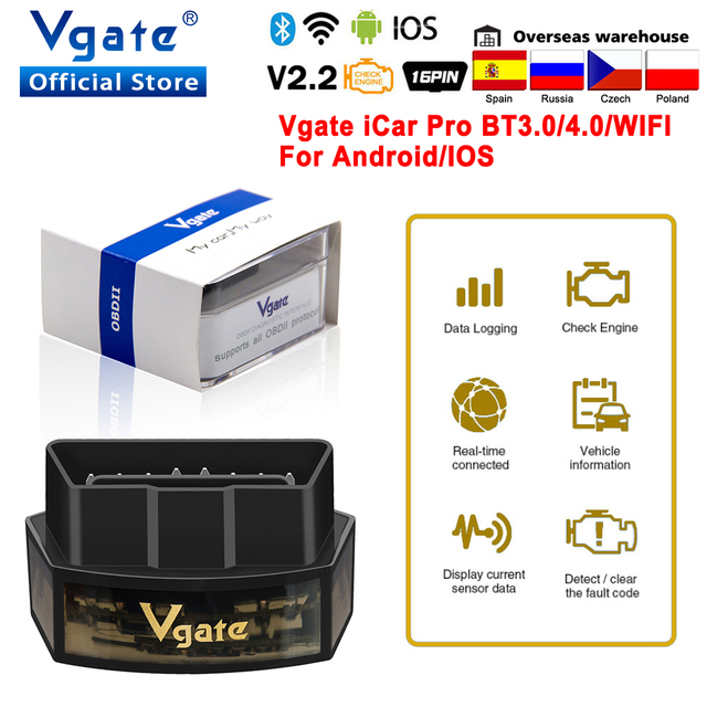 Vgateのicarプロelm327 obd2 wifi車の診断ツールのbluetooth 4.0 ios/android obd 2自動スキャナーiCar2 elm 327コードリーダー