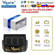 Vgate icar pro elm327 obd2 wifi ferramenta de diagnóstico do carro bluetooth 4.0 para ios/android obd 2 scanner automático icar2 elm 327 leitor código