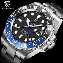 2020 nowy LIGE Sapphire zegarki dla mężczyzn luksusowej marki ceramiczna ramka szkiełka zegarka GMT automatyczny zegarek 100M wodoodporny Sport mechaniczny zegarek męski tanie tanio 10Bar CN (pochodzenie) Składane bezpieczne zapięcie Moda casual Samoczynny naciąg 22cm STAINLESS STEEL Odporna na wstrząsy