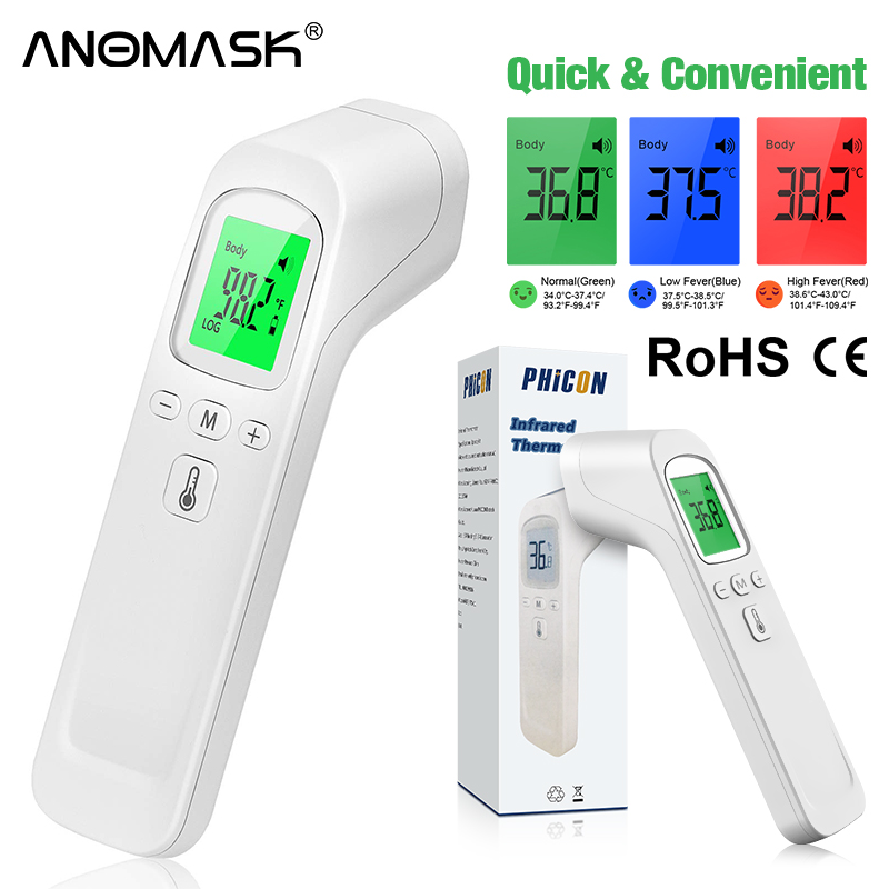 Инфракрасный термометр, Бесконтактный пирометр, цифровой ИК измеритель температуры, медицинский бытовой термометр для лба с подсветкой