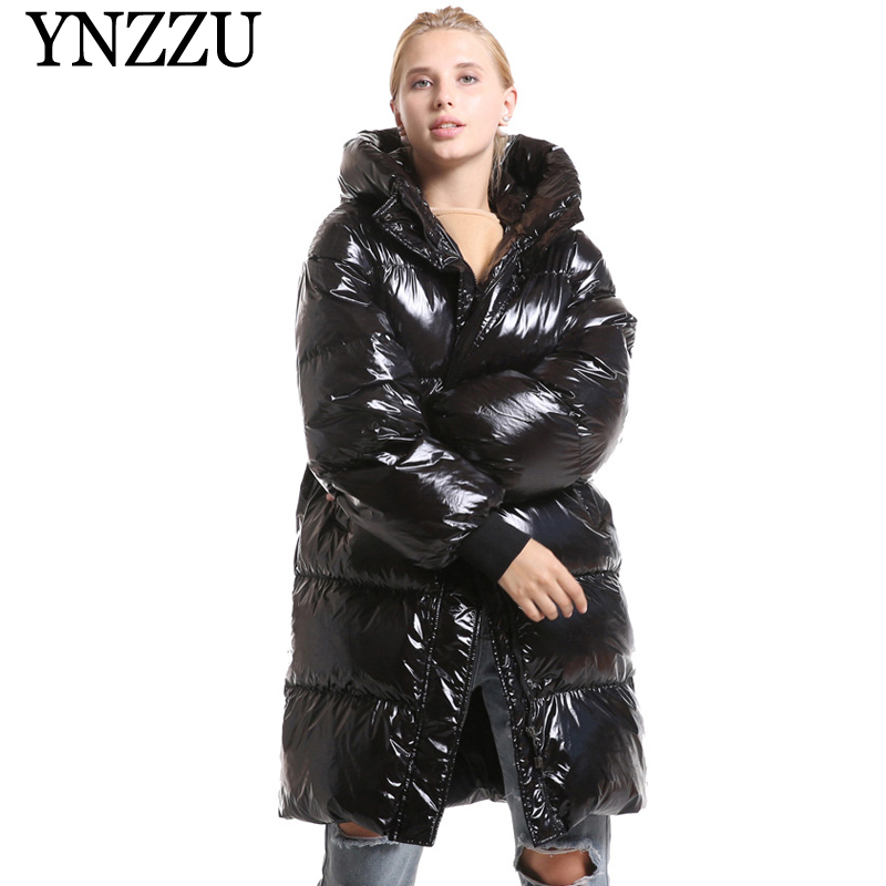 Hooded Loose Women   down     coat   Casual 2019 Winter Black Light Thick Warm Female Long   down     coat   Long sleeve Outwear YNZZU 9O075