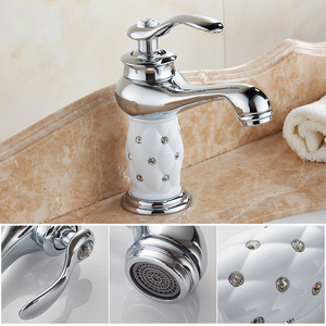 Image 4 - MOLI Bathroom Sink Faucet Gold Basin Single handle Faucets Diamond Water Mixer Crane Hot Cold Chrome Bath Brass Mixer Tap ML201