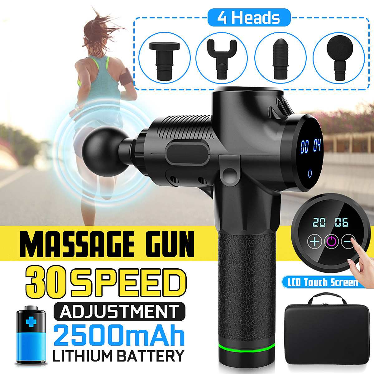 Muscle-Massage-Guns Electric-Therapy Body-Relaxing 4-Heads 4000r/min Files LED 30