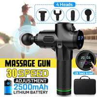 4000r/min Muscle Massager Electric Therapy Body LED Muscle Massage Guns 30 Files Body Relaxing Relief Massage Machine 4 Heads