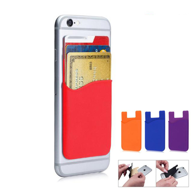Portable ID Card Holder PVC Stick-on Credit Soft Silicon Sticky Credit Cell Phone Card Holder Cardholder Wallet