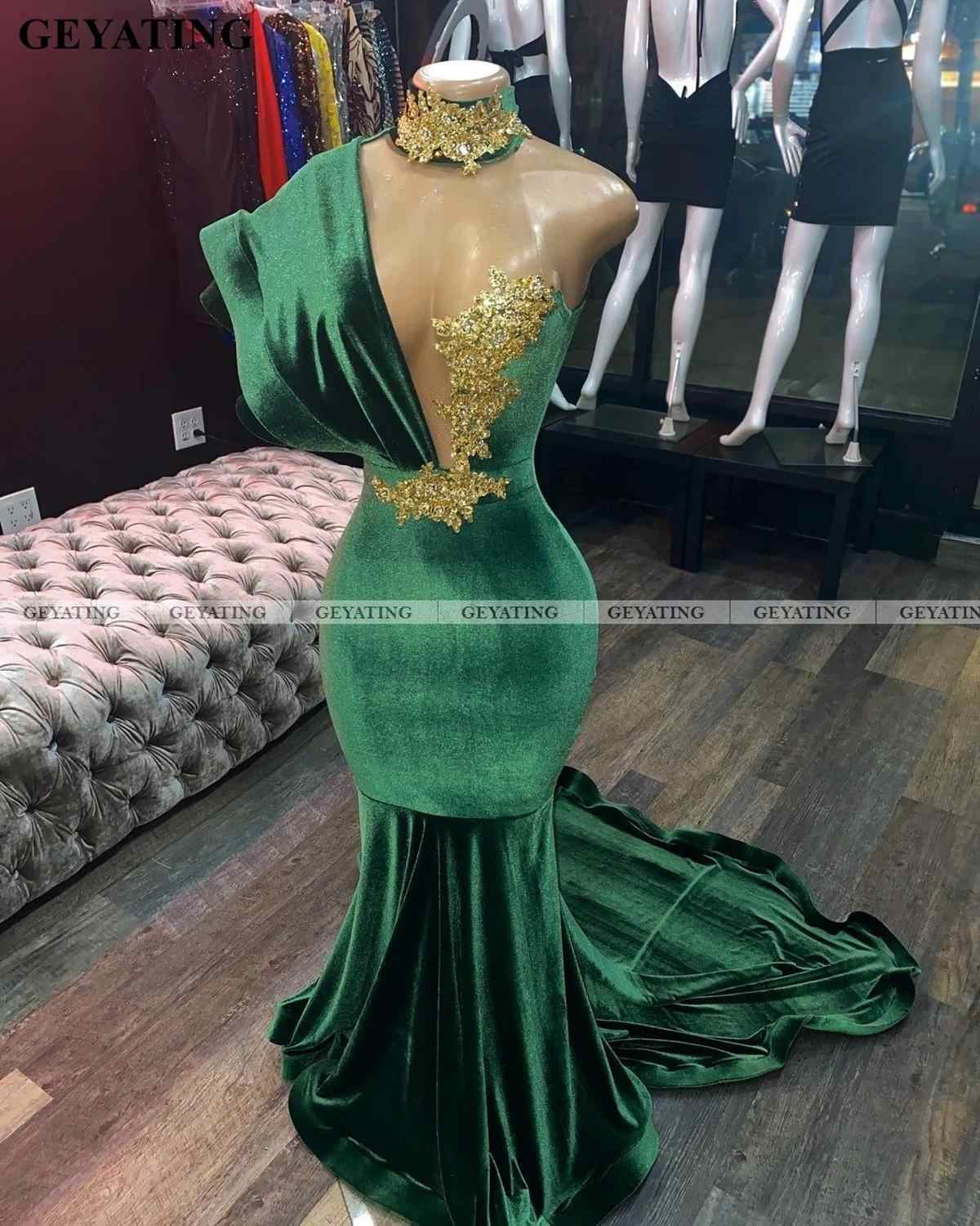 Emerlad Green Velvet Long Mermaid Prom Dresses Black Girls Sexy One Shoulder African Graduation Gala Dress Formal Evening Gowns Prom Dresses Aliexpress