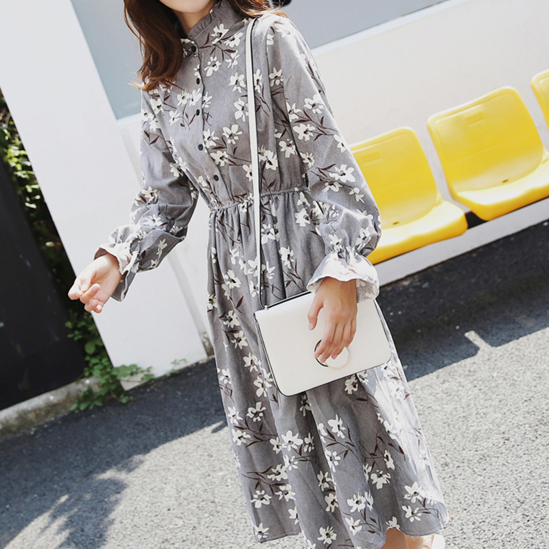 Image 5 - Winter Korean Print Flowers Women Kawaii Dress Vintage Long Sleeve Mid Calf Party Dress Button O Neck Vestidos Cute Clothing-in Dresses from Women's Clothing