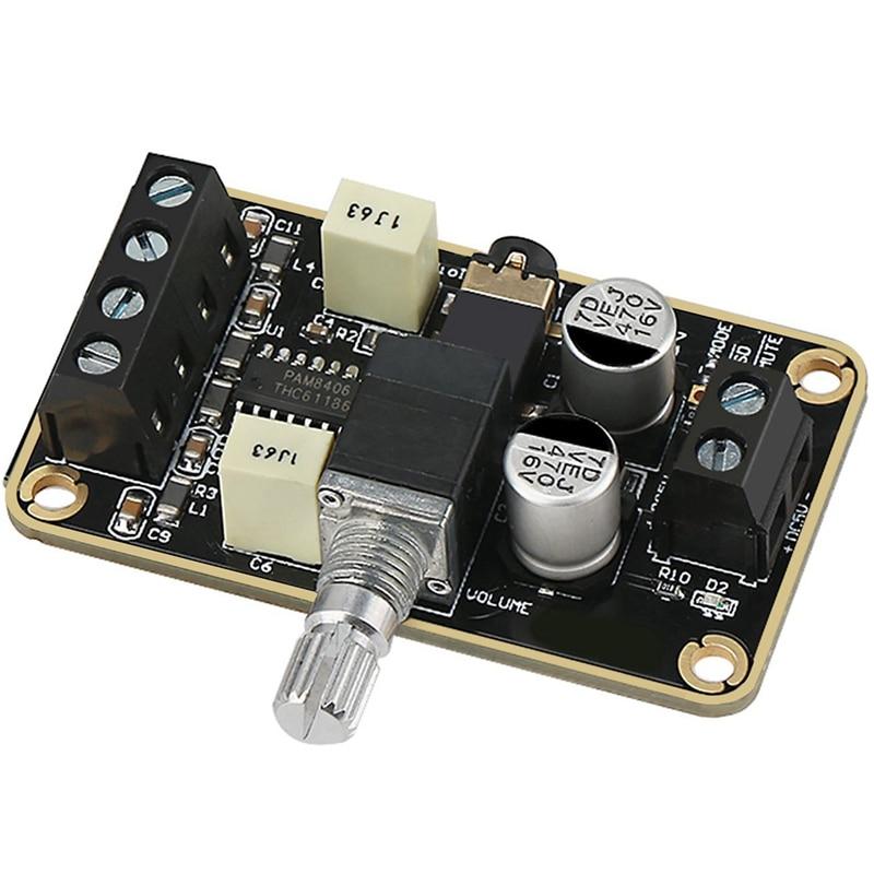 Audio Amplifier Board, Pam8406 Digital Power Amplifier Board 5W+5W Immersion Gold Stereo Amp 2.0 Dual Channel Mini Class D Dc5V