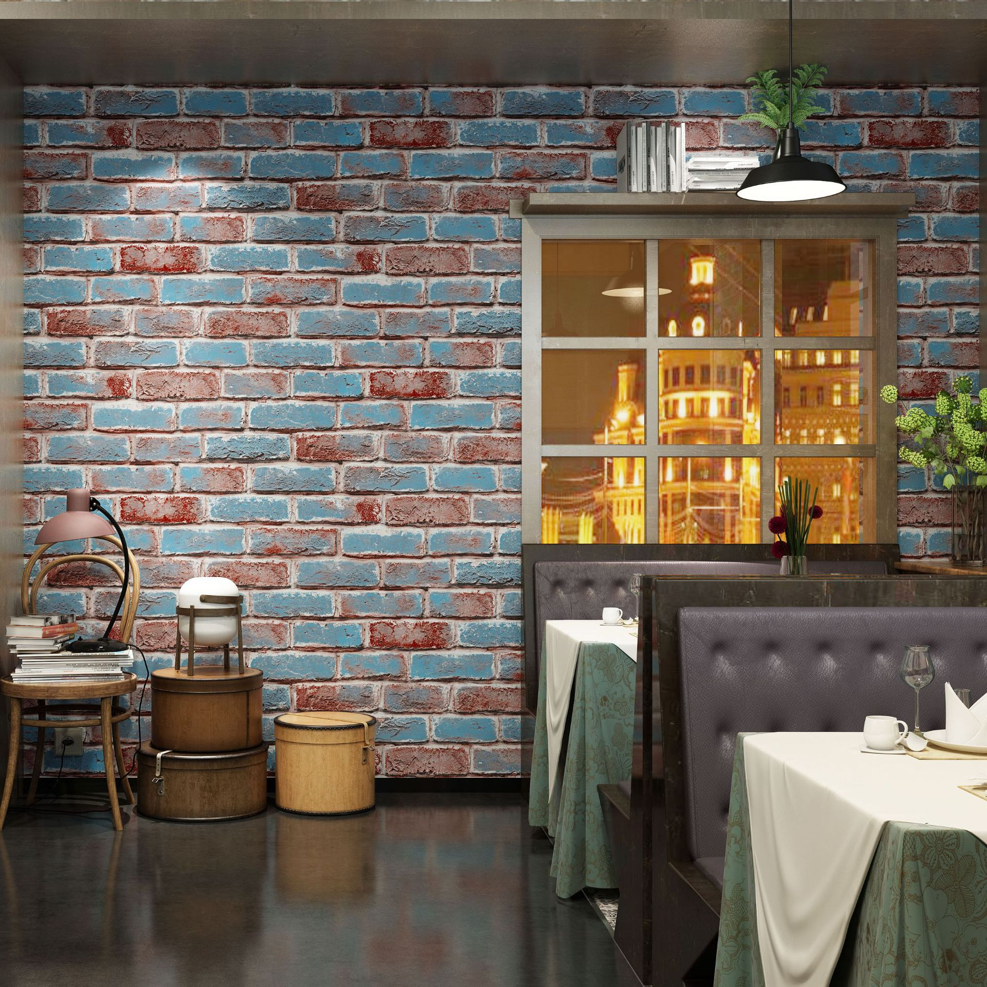 Retro Nostalgic 3D Faux Brick Pattern Bricks Brick Wallpaper Internet Cafe Restaurant Cafe Bar Red Brick Wallpaper