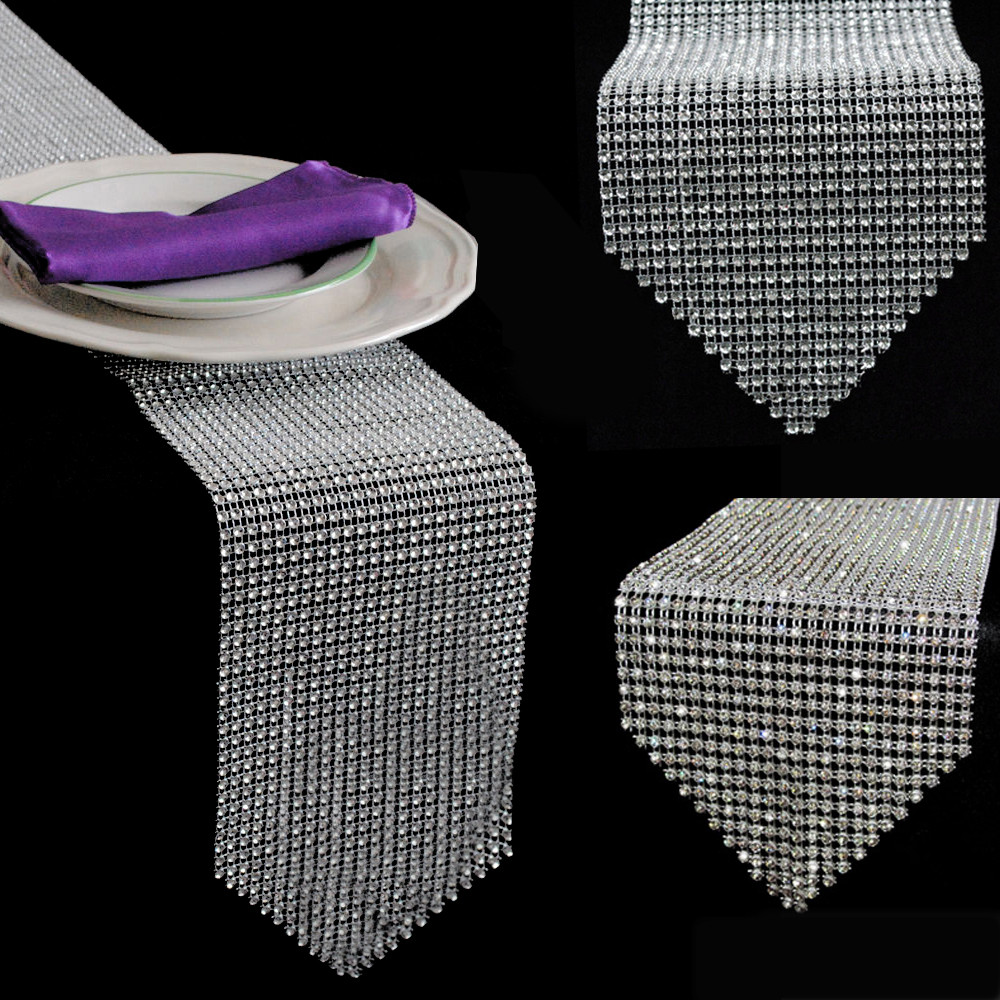 1pcs Gold Silver Diamond Mesh Table Runner Crystal Rhinestone Ribbon Bling Sparkly Wrap Wedding Christmas Decoration For Home