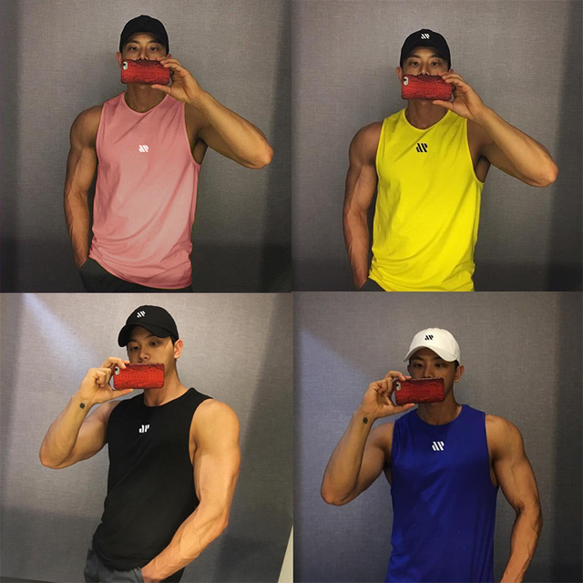 Men Bodybuilding Tank Tops Gym Workout Fitness Cotton Sleeveless shirt Running Clothes Stringer Singlet Male Summer Casual Vest 2