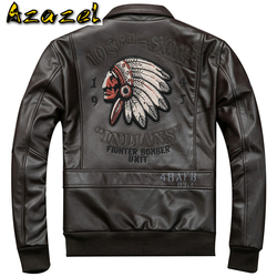 Topsale Mens Real Leather Jacket Coats Plus Size XXXL Natural Genuine Leather Coat Men Streetwear Indian Avatar Topwear Clothing