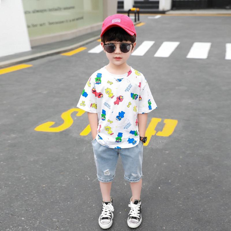 Baby Boys Clothing 2020 Summer Kids Cartoon Tops Tshirt Denim Pants Sport Suit Childrens Short Sleeve T Shirt Jeans Clothes Sets 2