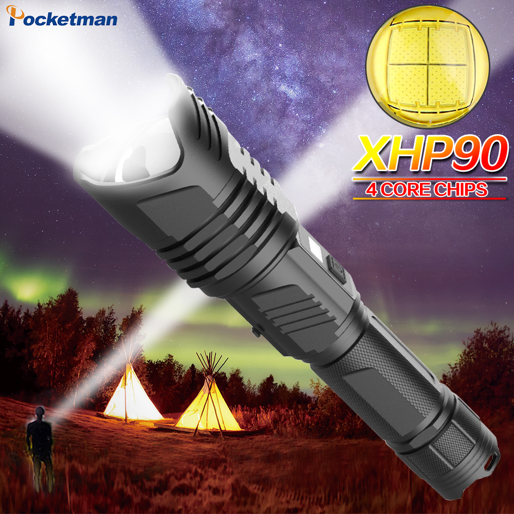 Super Bright XHP90 LED Flashlight Rechargeable Waterproof Torch With Outdoor Safety Hammer 26650 Battery Stepless Dimming Lamp