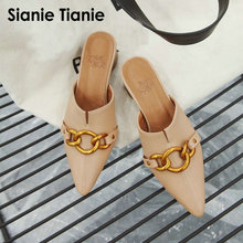 Sianie Tianie 2020 summer PU pointed toe med chunky heels woman sandals outdoor slides slippers women mules with metal chain