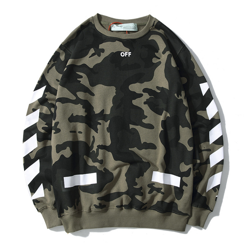 Ow 19fw Europe And America New Style Popular Brand Camouflage Arrowhead Off White Pure Cotton Looped Pile Crew Neck Couples Hood
