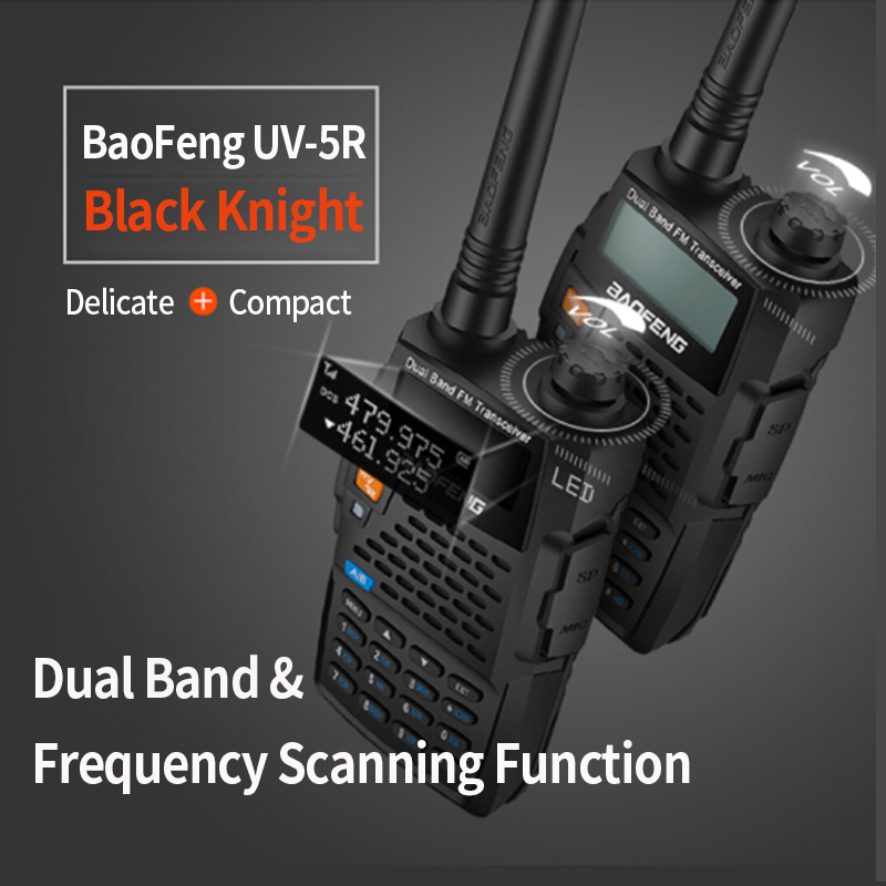 Baofeng UV-5R 4th Generation Black Knight 136-174/400-520mHZ Two Way Radio Professional FM Transceiver Walkie Talkies