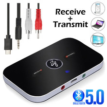 VIKEFON Bluetooth 5.0 오디오 수신기 송신기 2 IN 1 RCA 3.5MM 3.5 AUX 잭 USB 스테레오 음악 무선 어댑터 (TV 차량용 PC 용)