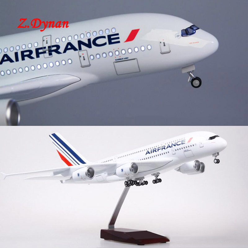 1/160 Scale 50.5CM Airplane Airbus A380 Air France Airline Model W LED Light & Wheel Diecast Plastic Resin Plane For Collection image
