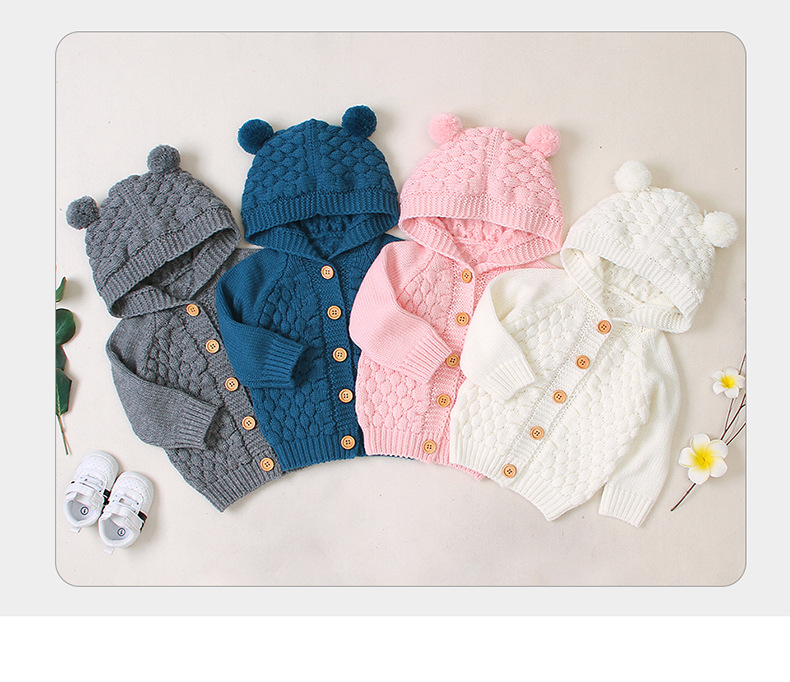 2019 Autumn Winter Coat  Newborn Baby Boy Girl Clothes Children's Solid-Color Sweater Wool Ball And Cap Knitted Jacket