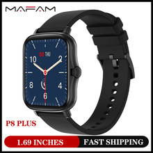 Mafam 2021 top1 relógio inteligente das mulheres dos homens p8 mais 1.69 polegadas toque completo de fitness rastreador 190mah bateria longa smartwatch y20 pk p8