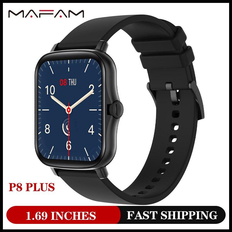Mafam 2021 top1 relógio inteligente masculino mulher p8 plus, 1.69 polegadas de toque completo fitness tracker, 190mah bateria longa smartwatch y20 pk p8