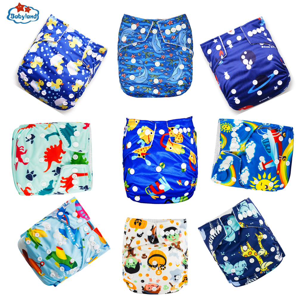 Babyland Bbay Cloth Diapers 9pcs/Lot Washable Nappy Reusable Baby Pocket Diapers Prevent Leakage Waterproof 3-15kg Day & Night