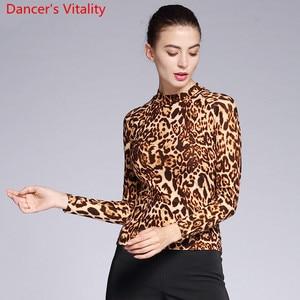 Image 2 - 新しいモダンダンスの摩耗大人女性ヒョウ 2 タイプネックトップ社交国家標準ワルツジャズダンス練習列車の服