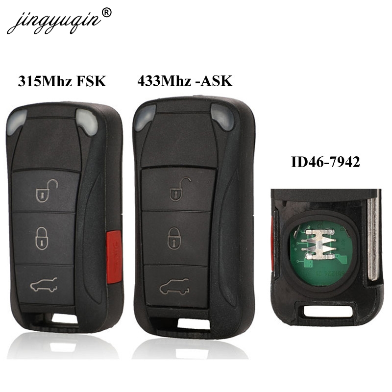 Jingyuqin 3 Buttons 433Mhz 4Buttons 315Mhz Flip Remote Car Key Fob PCF7942 For Porsche Cayenne Fob Control