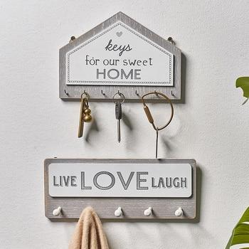 Wall hanging wood key hanger holde