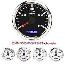 Tacómetro con contador fuera de borda para coche y barco, accesorios de medición de hora, Sensor de 9-30V, 52mm, 3000-8000 RPM, nuevo