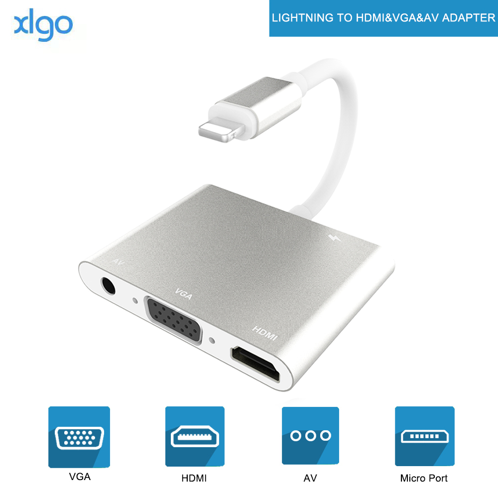 Cabo <font><b>hdmi</b></font> otg de alta qualidade, para lightning <font><b>a</b></font> <font><b>vga</b></font> av audio <font><b>video</b></font> hdtv, adaptador para iphone 11/x/xs/xr/8p/8/7p/6s para ipad air/ipod image