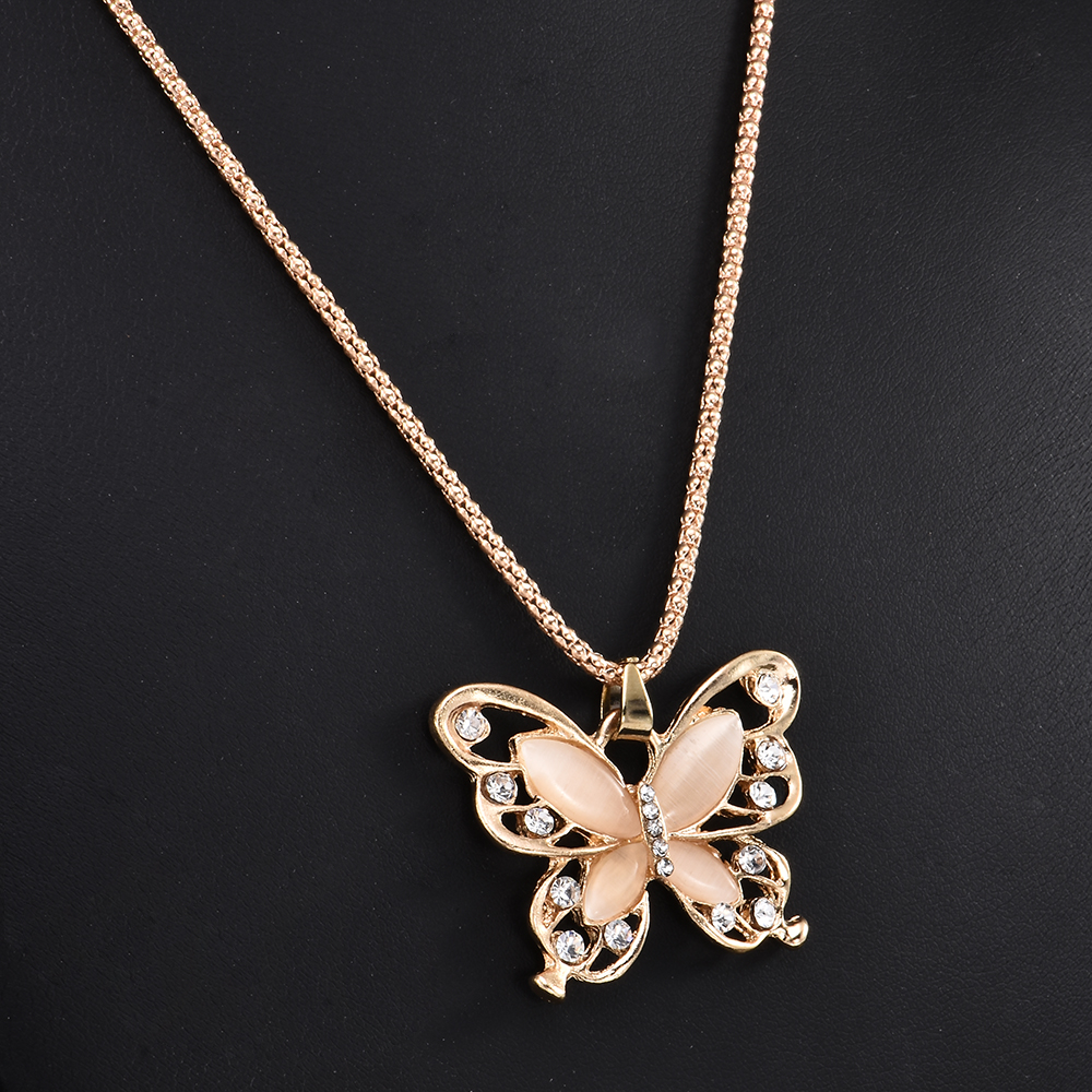 2019 New Fashion Rose Golden Butterfly Chokers Necklaces Cat Eye Stone Long Necklace Women Jewelry Wholesale 4