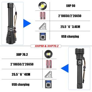 Image 2 - XHP90 linterna LED de gran alcance XHP70.2, lámpara recargable vía USB, luz táctica con Zoom 18650 y 26650, para acampar y cazar