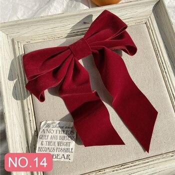 17KM Vintage Black Big Large Velvet Bow Hair Clip For Women Girls Wedding Long Ribbon Korean Hairpins Barrette Hair Accessories 4
