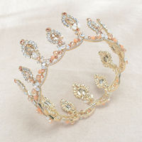 6.5cm High Light Gold Wedding Bridal Party Pageant Prom Round Crown 14cm Wide Baroque Royal Tiara Hair Pins for Women Jewelry