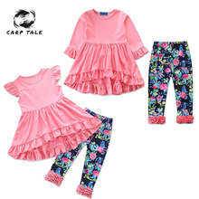 Brand New Baby Girls Clothing Sets Summer and Spring Infant Petal Short Sleeve T-shirts Pants 2pcs Toddler Newborn Girl Clothes
