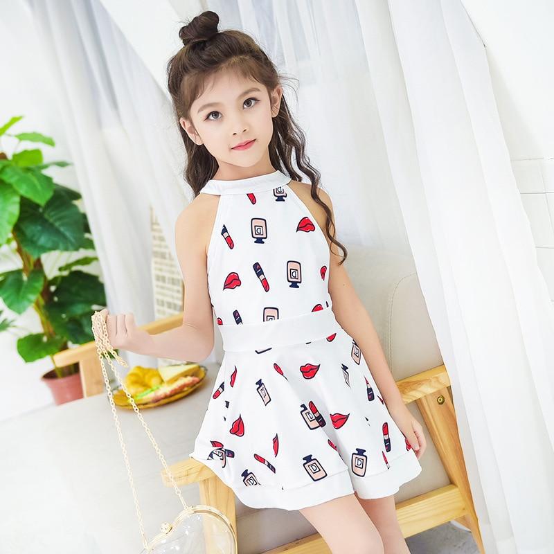 Girl'S Swimsuit Big Boy Bathing Suit 12-15-Year-Old GIRL'S South Korea Skirt-Style One-piece Split Type KID'S Swimwear Women's