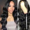 Pelucas de cabello humano con onda de encaje en el cuerpo 13x4 para mujeres negras línea de pelo pre-desplumado con pelo de bebé baja proporción cabello Remy 130% densidad